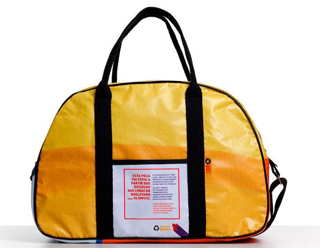 a23128785 Lonas usadas nas Olimpíadas são reaproveitadas e viram bolsas
