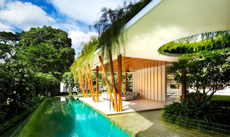 Casa em Cingapura abraça a natureza por todos os ângulos