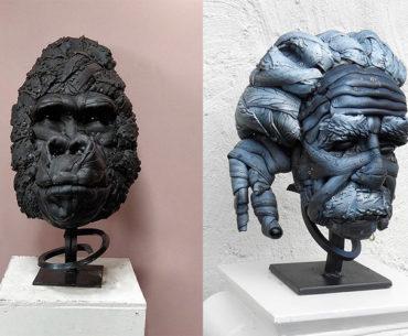 Artista cria esculturas com pneus de bicicletas